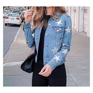 Bagatelle denim jacket Faux leather star patches